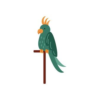 Schöner bunter tropischer exotischer vogel des papageis sitzt auf einer stange