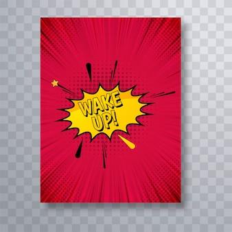 Schöner comic-buch-broschürenschablonen-designvektor