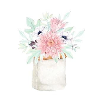 Schöner dahlienblumenstrauß mit protea und anemonenblume