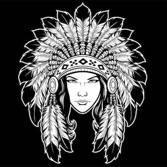 Schöner damenkopf mit kopfschmuck der amerikanischen ureinwohner