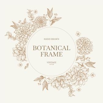 Schöner dekorativer botanischer blumenrahmenhintergrund