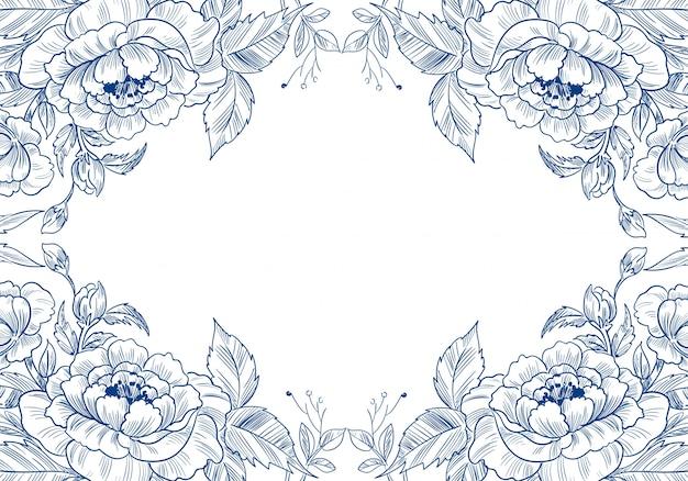 Schöner dekorativer skizzenblumenkartenhintergrund