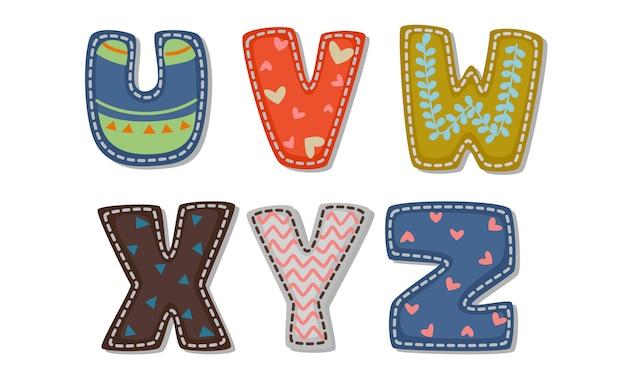 Schöner druck auf fetten font-alphabeten für kinder teil 4