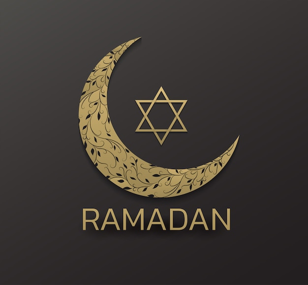 Schöner eid mubarak goldener dekorativer mondgruß. ramadan goldener mondameisenstern auf schwarzem hintergrund
