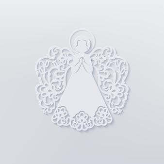 Schöner engel mit zierflügeln und heiligenschein