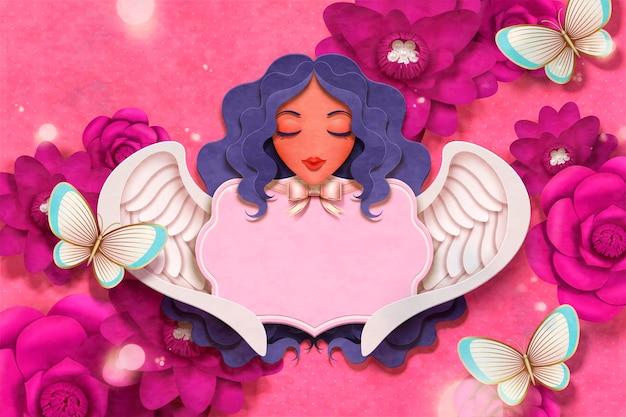 Schöner engel und fuchsia blumenhintergrund im papierhandwerksstil
