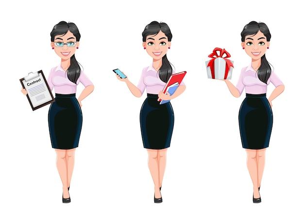 Schöner erfolgreicher geschäftsfrauenkarikaturzeichensatz von drei posen