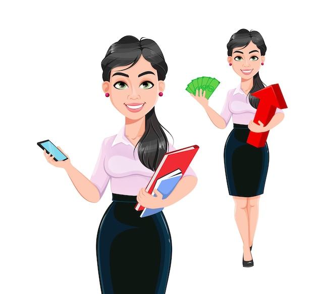 Schöner erfolgreicher geschäftsfrauenkarikaturzeichensatz von zwei posen