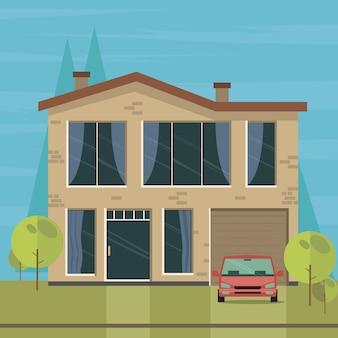 Schöner familienhaus- und wohnungsnaturhintergrund