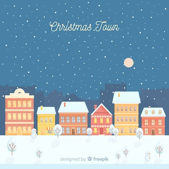 Schöner flacher weihnachtsstadthintergrund