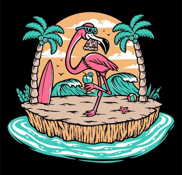 Schöner flamingo am strand