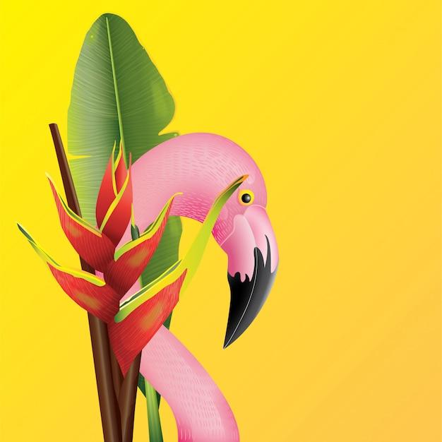 Schöner flamingo mit tropischem blatt-hintergrund für sommer