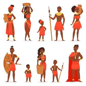 Schöner frauencharakter des schwarzen mannes des afrikanischen volkes im traditionellen stammeskleidungskleid in afrikaillustrationsethnheitssatz von kindermädchen und -jungen im ethnischen stammeskostüm