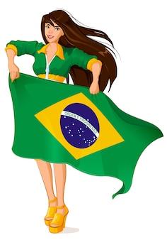 Schöner frauenfan, der brasilianische flagge hält
