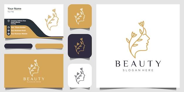Schöner frauengesichtsblumenstern mit strichgrafikartlogo und visitenkartenentwurf. abstraktes designkonzept für schönheitssalon, massage, magazin, kosmetik und spa.