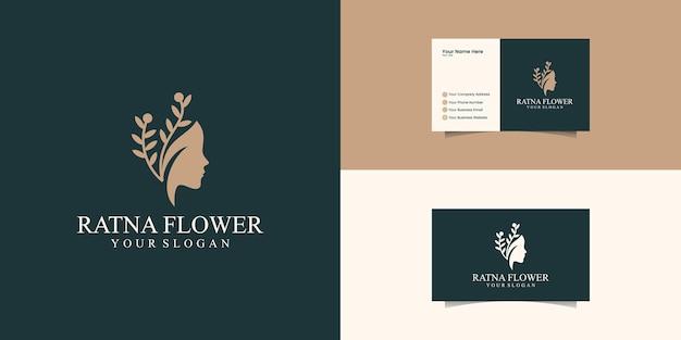 Schöner frauengesichtsblumenstern mit strichgrafikartlogo und visitenkartenentwurf. abstraktes designkonzept für schönheitssalon, massage