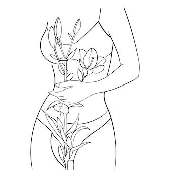 Schöner frauenkörper mit lilienblume, strichzeichnungen. konzept der körperpflege. - vektor-illustration