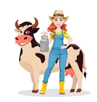 Schöner frauenlandwirt, der mit kuh steht. netter mädchenbauer cartoon-figur. vektorgrafik auf weißem hintergrund