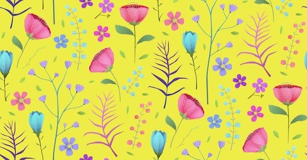 Schöner frühlingsblumengarten blüht hintergrund. nahtloses musterhintergrunddesign im aquarellstil.