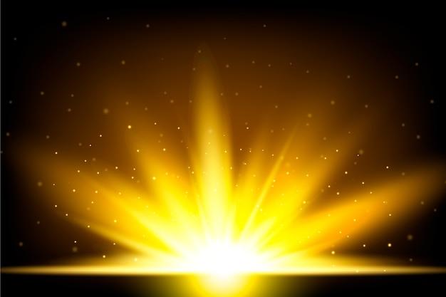 Schöner funkelnder lichteffekt des sonnenaufgangs