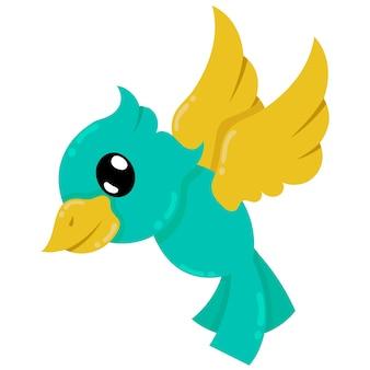 Schöner geflügelter fliegender vogel, vektorillustrationskunst. doodle symbolbild kawaii.