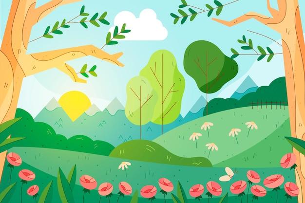 Schöner gezeichneter frühlingslandschaftshintergrund