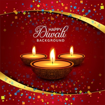 Schöner glücklicher dekorativer hintergrundvektor diwali