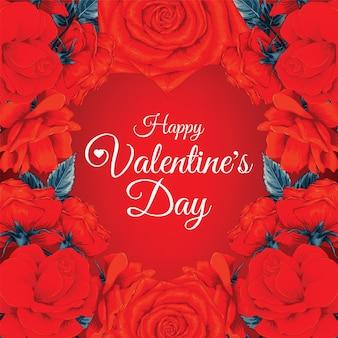 Schöner glücklicher valentinstaghintergrund mit roten rosenblumen.