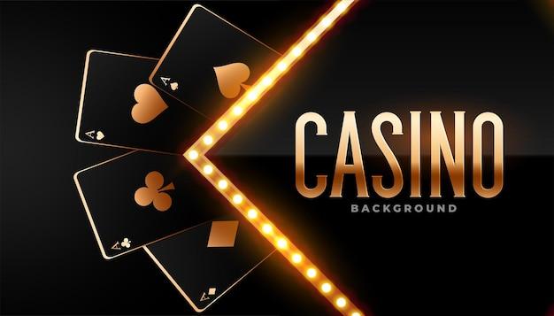 Schöner goldener casino-hintergrund mit karten
