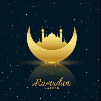 Schöner goldener mond und moschee ramadan kareem hintergrund