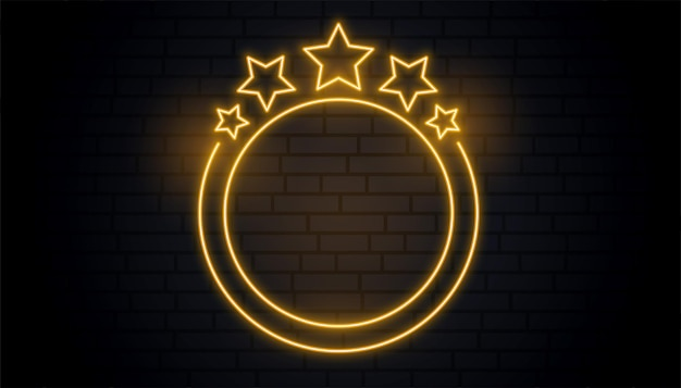 Schöner goldener neonrundrahmen mit sternen