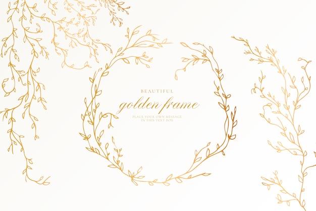Schöner goldener rahmen mit eleganten zweigen