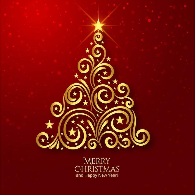 Schöner goldener weihnachtsbaumfesthintergrund