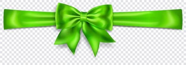 Schöner grüner bogen mit horizontalem band mit schatten auf transparentem hintergrund. transparenz nur im vektorformat