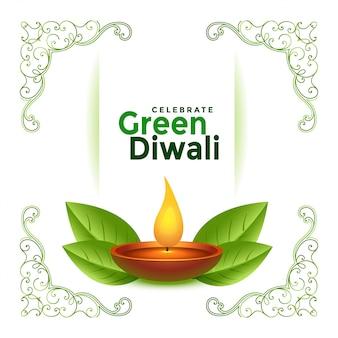 Schöner grüner diwali festivalhintergrund
