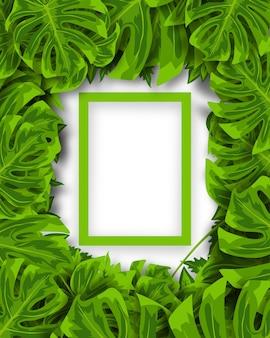 Schöner grüner tropischer blätterhintergrund des vektors mit rahmen und platz für text