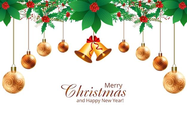Schöner hängender weihnachtskugelverzierungskartenhintergrund