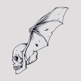 Schöner handgemachter designschädelfledermausflügel