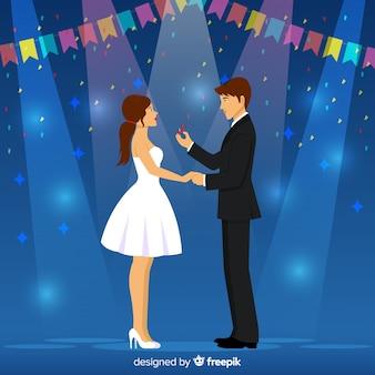 Schöner heiratsantrag mit karikaturart