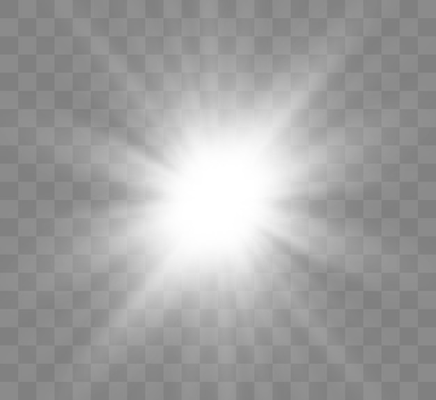 Schöner heller magischer aufgehender stern mit hellen strahlen. flackernde lichtgrafiken.
