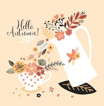 Schöner herbst mit wasserkocher, tasse, blüten, blättern und mit der aufschrift hallo herbst.