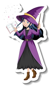 Schöner hexen-cartoon-charakter-aufkleber