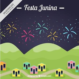 Schöner hintergrund der festa junina mit feuerwerk