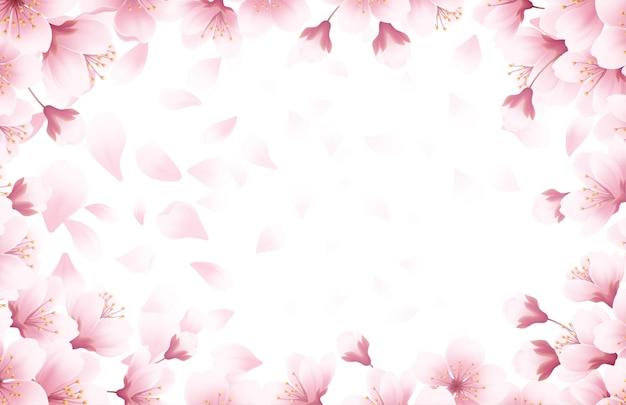 Schöner hintergrund der frühlingszeit mit blühenden kirschblüten des frühlings. sakura fliegende blütenblätter lokalisiert auf weißem hintergrund. vektorillustration eps10