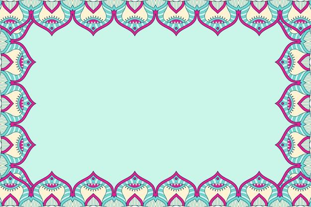 Schöner hintergrund des geometrischen blumenrahmens der verzierung