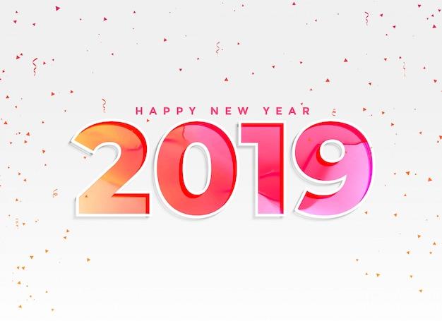 Schöner hintergrund des neuen jahres 2019 mit konfetti