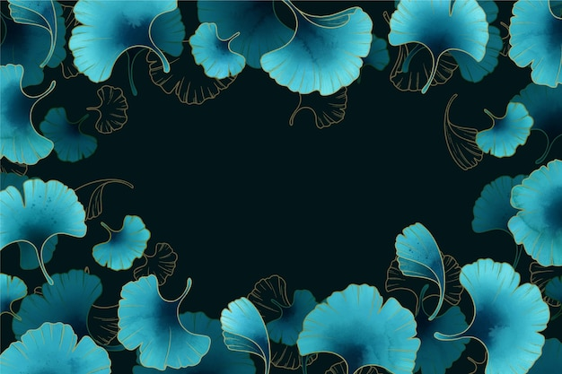 Schöner hintergrund mit blauen blumen mit farbverlauf