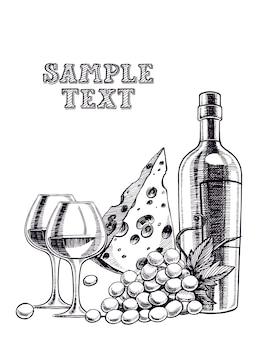 Schöner hintergrund mit einer flasche wein, gläsern, weintraube und käse