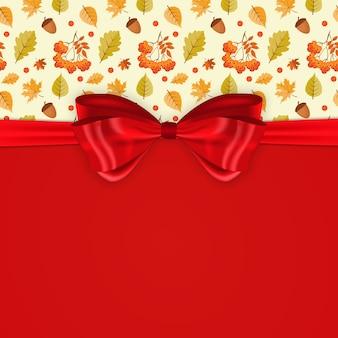 Schöner hintergrund mit fallenden herbstblättern, roter schleife und band.