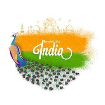 Schöner hintergrund mit pfau für indischen unabhängigkeitstag